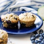 Food blogger, Bella Bucchiotti of xoxoBella, shares a healthy muffin recipe. These blueberry zucchini muffins are moist because they are zucchini muffins made with applesauce.