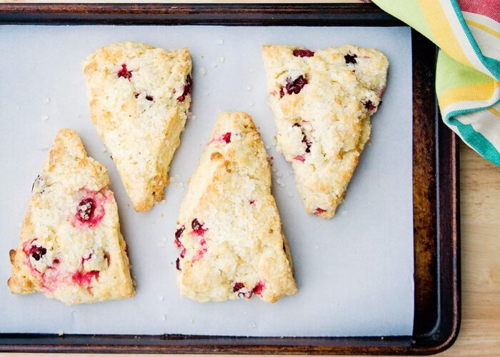 Food blogger, Bella Bucchiotti of xoxoBella, shares an easy scone recipe for white chocolate cranberry scones.