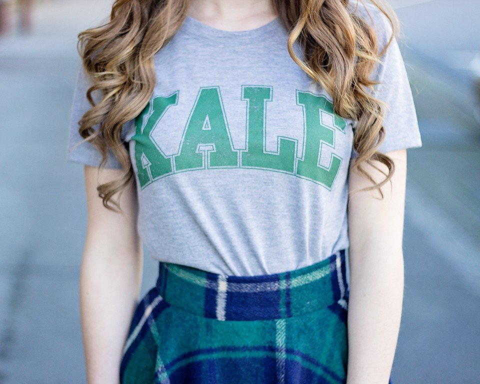 Kale Top and Plaid Skirt