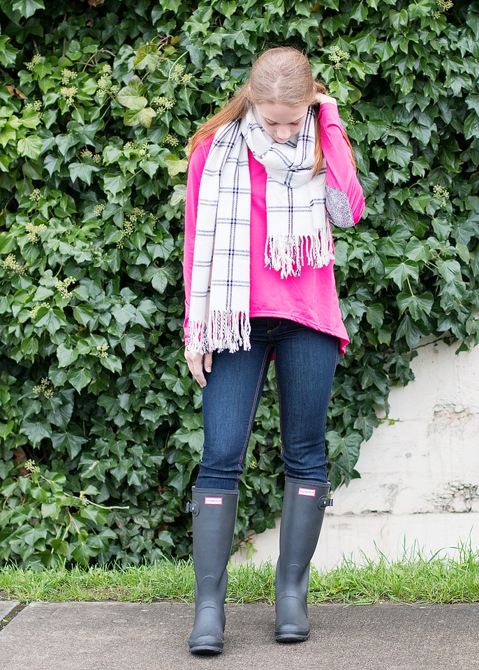 Pink Shirt and Hunter Boots