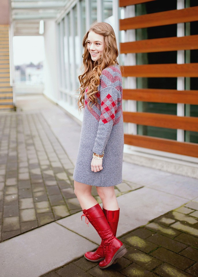 Sweater Dress and Red Boots
