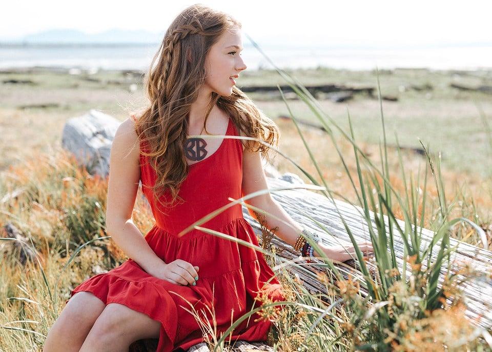 Red Backless Ruffle Dress