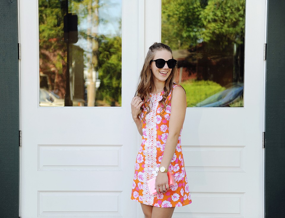 Tropical Floral Print Shift Dress