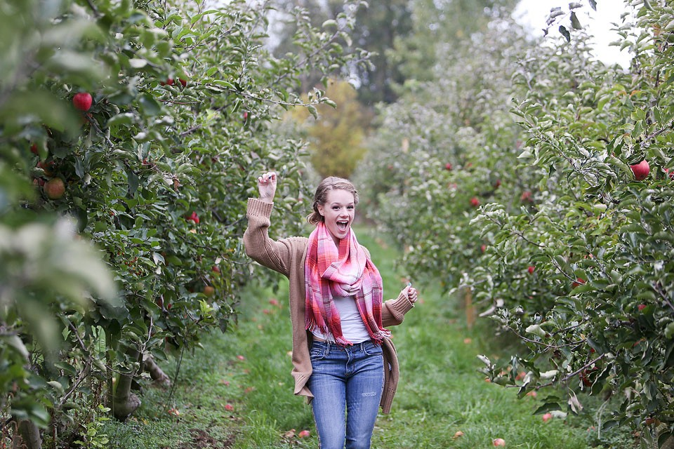 Blogger Bella Bucchiotti of xoxoBella is wearing a Gap cardigan and scarf, Sam Edelman boots and Driftwood jeans at an apple orchard.