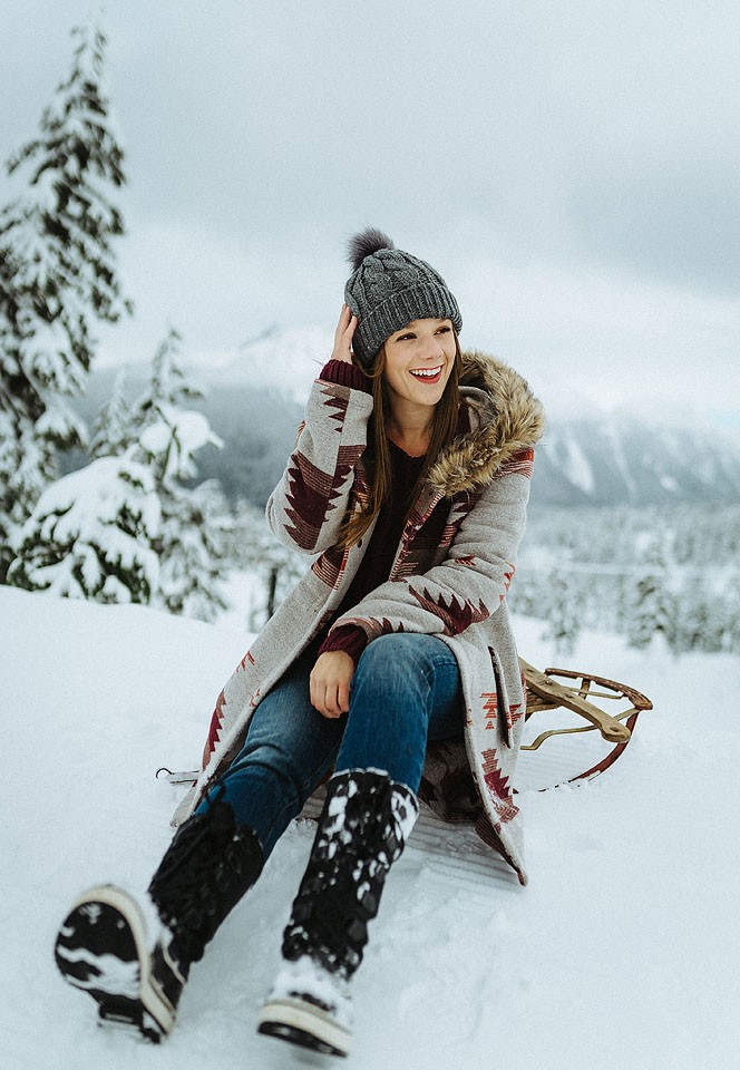 Blogger Bella Bucchiotti of xoxoBella is wearing a BB Dakota jacket, Free People sweater. Levis jeans and Sorel boots at Mt. Baker. Photo by Braedin Toth