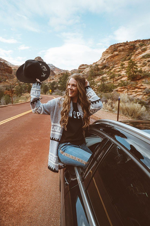 Blogger Bella Bucchiotti of xoxoBella is sharing photos of her trip to Zion National Park in Utah. Sixt rent a car provided a great ride for the trip. Photos by Braedin Toth.