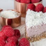 Vegan Protein Raspberry Coconut Cheesecake