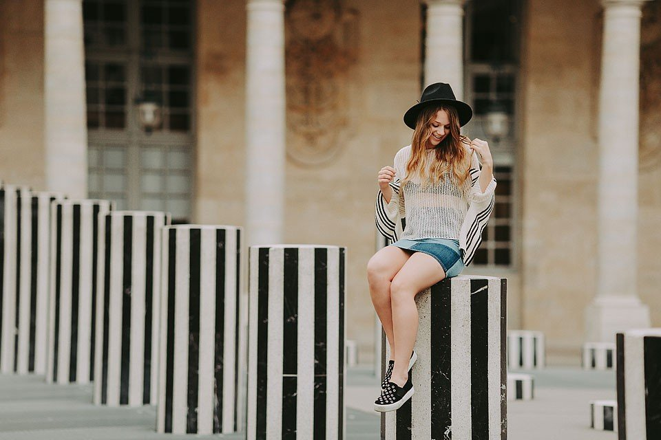 Fashion blogger, Bella Bucchiotti of xoxoBella shares an outfit that she wore to the Buren Columns at Palais-Royal in Paris, France.