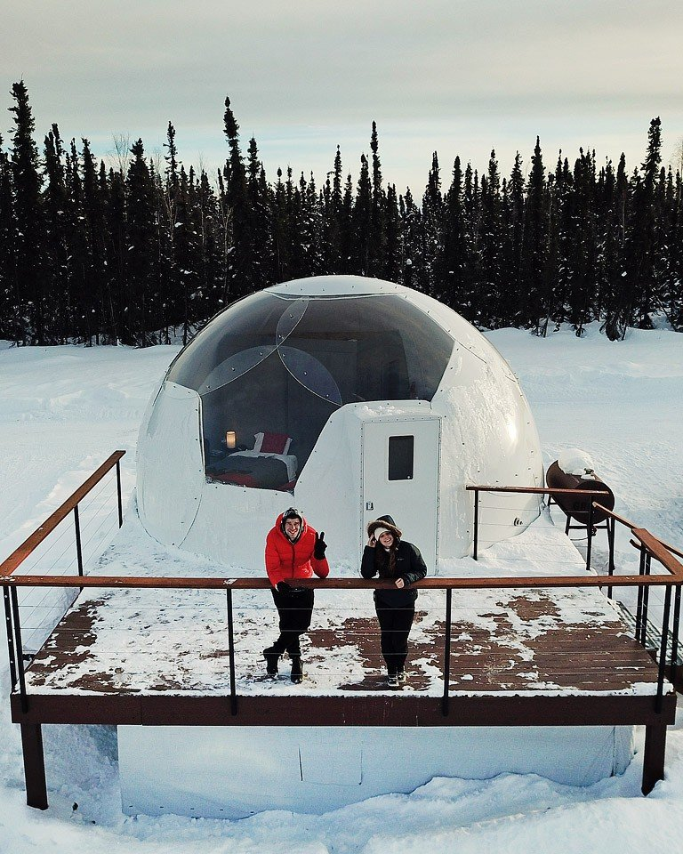 Blogger Bella Bucchiotti of xoxoBella.com shares her stay in an aurora dome at the Borealis Basecamp in Fairbanks Alaska.
