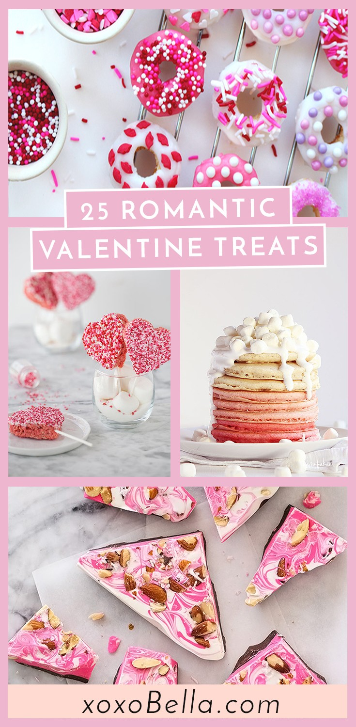 Blogger Bella Bucchiotti of xoxoBella.com shares a round-up of 25 sweet Valentine's Day treats. Try these easy Valentine's Day recipes for school parties or gifts. Perfect last minute Valentine's ideas.v