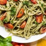 Blogger Bella Bucchiotti of xoxoBella.com shares a recipe for a quick and easy vegan pesto sauce. Make with basil and spinach, it is an easy pesto sauce for summer.