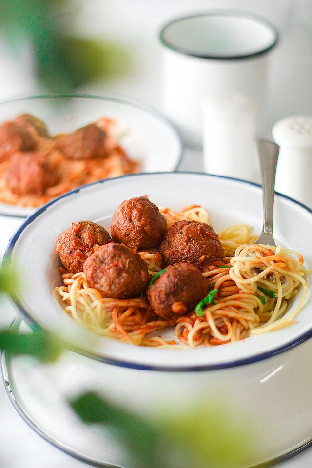 Food blogger, Bella Bucchiotti of xoxoBella, shares a recipe for vegan air fryer meatballs with spaghetti marinara. You will love this vegan meatball recipe.