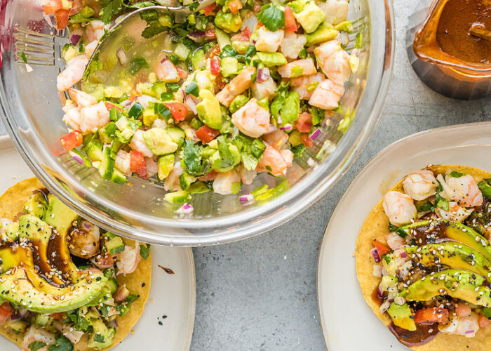 Food blogger, Bella Bucchiotti of xoxoBella, shares a Mexican shrimp ceviche recipe. This is the best ceviche recipe with fresh shrimp.