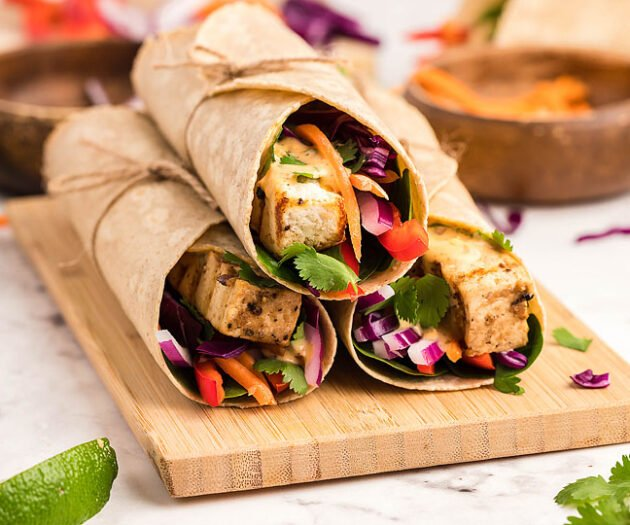 Food blogger, Bella Bucchiotti of xoxoBella, shares a gluten free tofu Thai wrap with coconut almond butter dip. You will love this vegan gluten free lunch recipe.