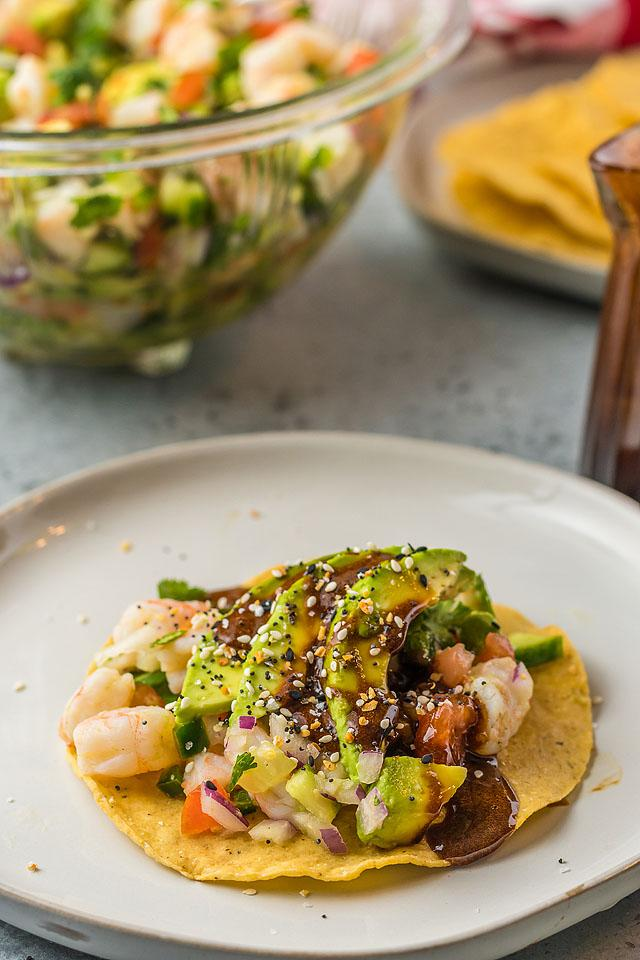 Food blogger, Bella Bucchiotti of xoxoBella, shares a Mexican shrimp ceviche recipe. You will love this seafood ceviche recipe as an appetizer or light lunch.