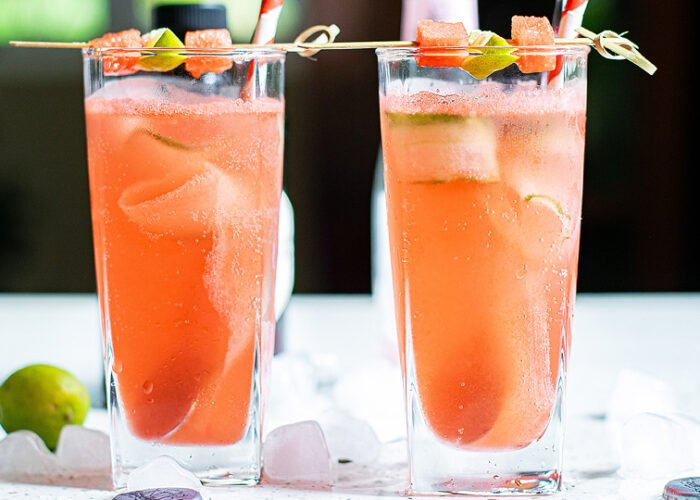 Food blogger, Bella Bucchiotti of xoxoBella, shares a recipe for a watermelon gin tonic with cucumber ribbons. You will love this refreshing summer BBQ cocktail.