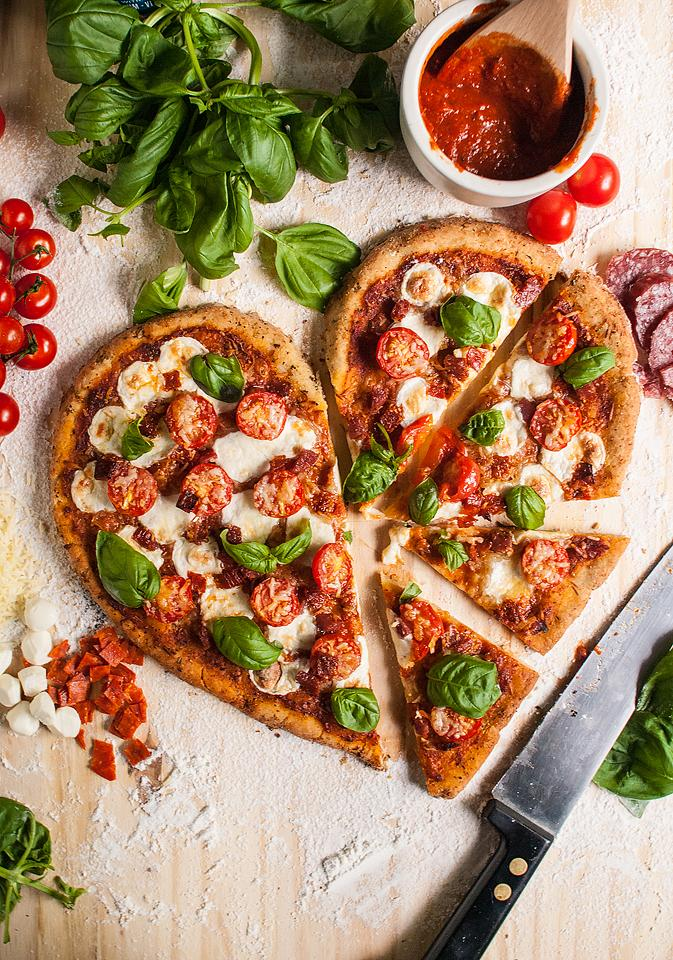 Food blogger, Bella Bucchiotti of xoxoBella, shares a homemade gluten free heart shaped pizza. It is a great Valentine's dinner idea.