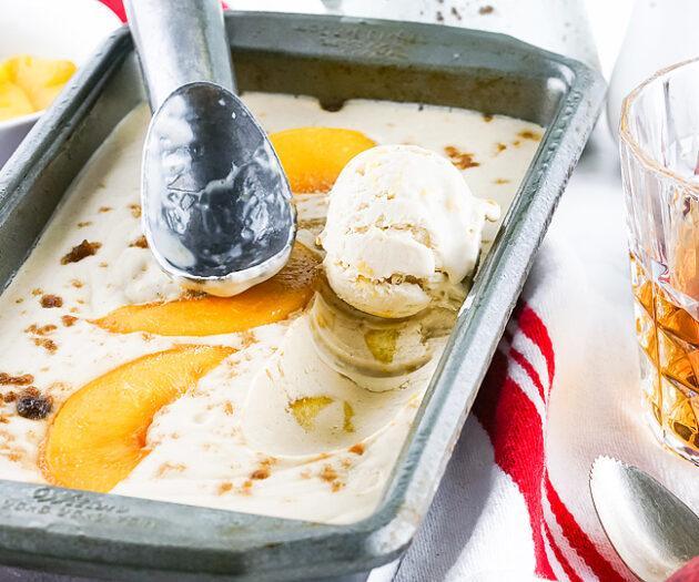 Food blogger, Bella Bucchiotti of xoxoBella, shares a recipe for cinnamon bourbon peach ice cream. You will love this boozy peach dessert made with canned peaches.