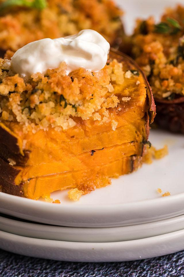 Food blogger, Bella Bucchiotti of xoxoBella, shares a recipe for air fryer sweet potato casserole stacks. You will love these sweet potato stacks.