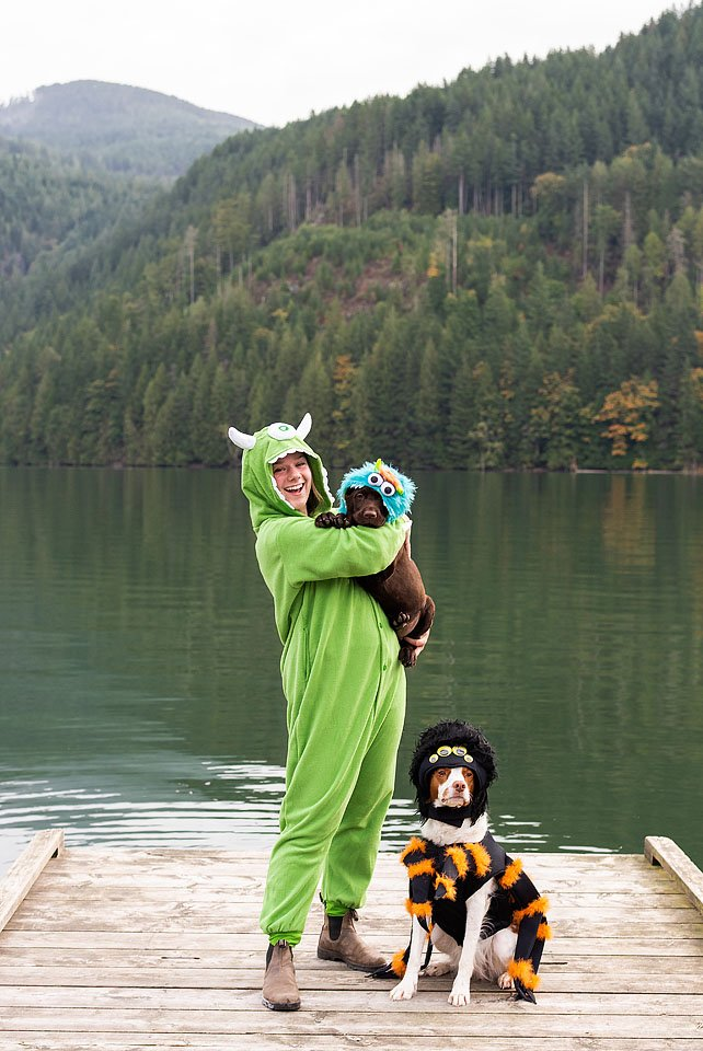 Lifestyle blogger, Bella Bucchiotti of xoxoBella shares puppy and owner Halloween costume ideas. These matching dog monster costumes are so cute and not so scary!